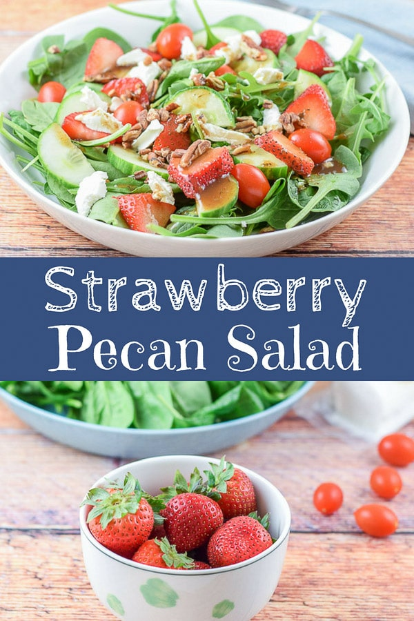 This arugula spinach strawberry pecan salad is a perfect balance of ingredients!  It not only is delicious, it is really pretty and fun to serve at dinner parties! #strawberries #salad #arugula #pecan #dishesdelish