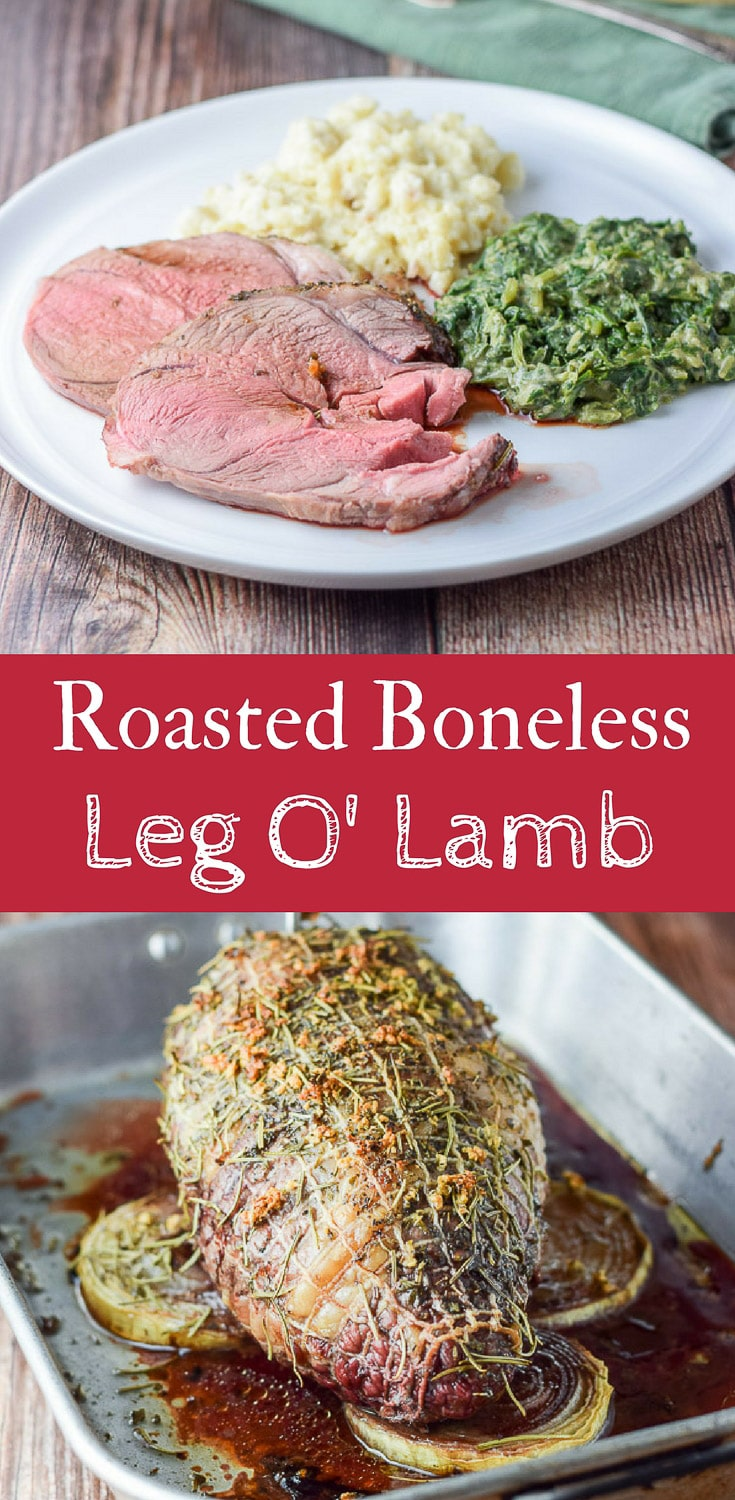 This roasted boneless leg of lamb is not only scrumptious, but it's easy as well. It's done to perfection and is a perfect Sunday dinner for the family! #sundaysupper #lamb #legoflamb #dishesdelishrecipes