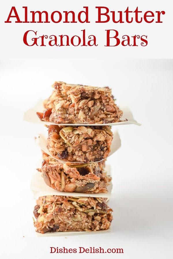 These almond butter granola bars are nutty, soft and so satisfying!  They make for the perfect breakfast or snack! #granolabar #breakfast #dishesdelish