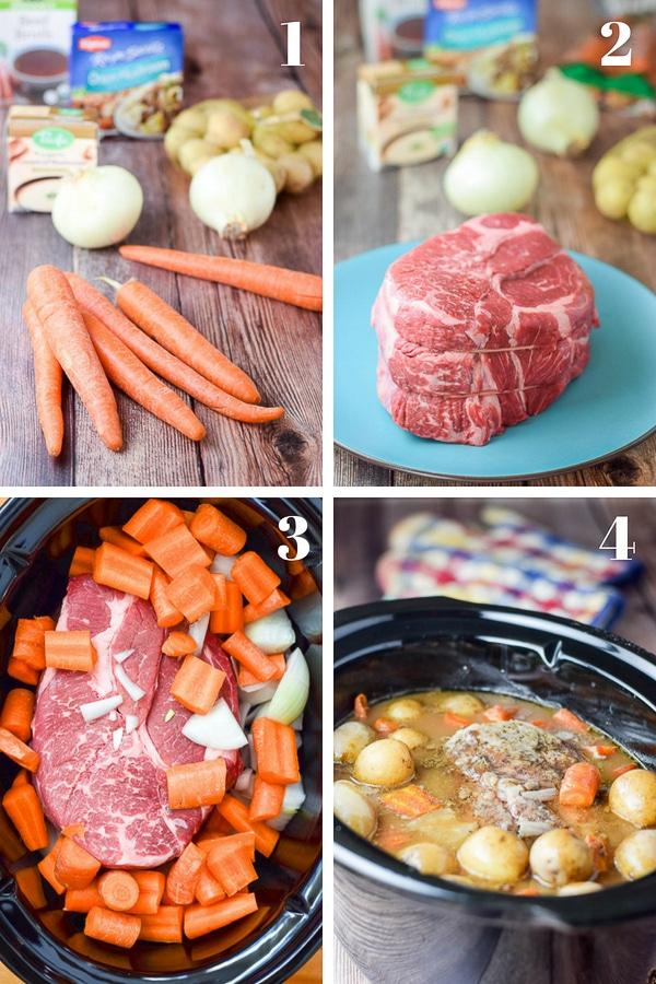 Collage of the step by step photos of the Slow Cooker Boneless Chuck Roast