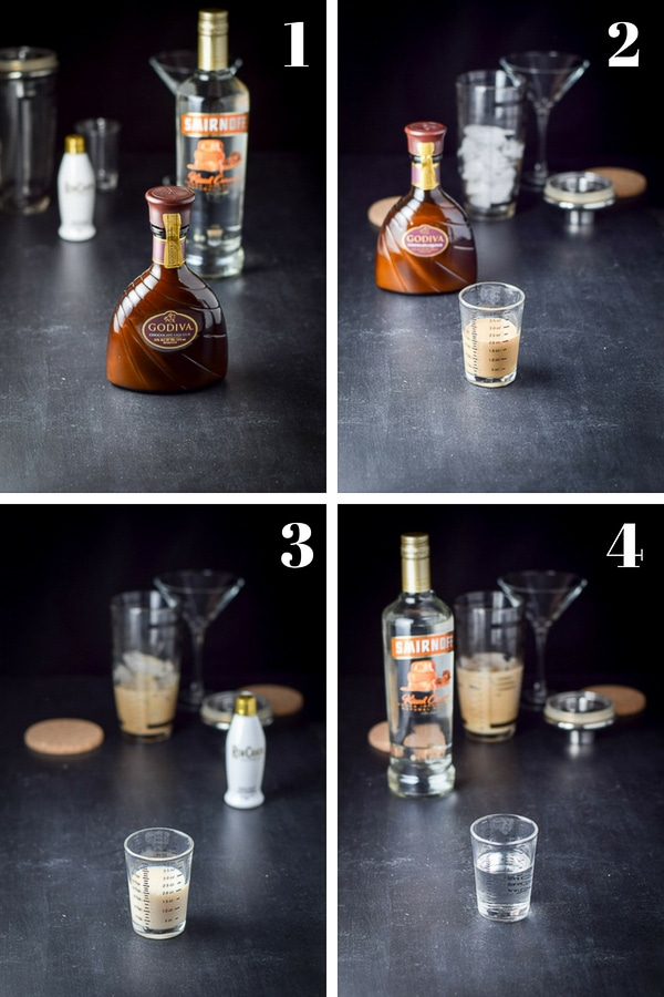 Collage process shots for the chocolate martini