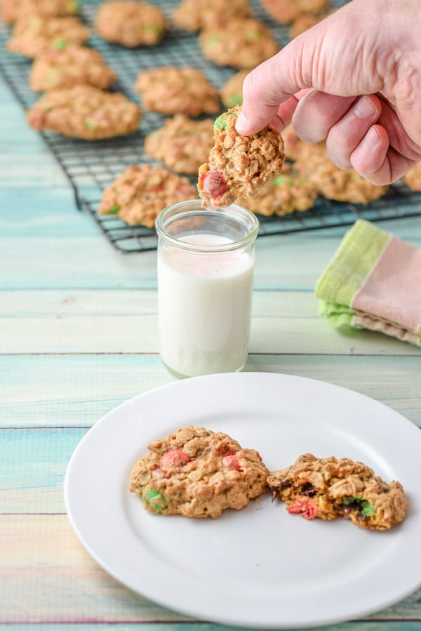 Milk dripping off the easy monster cookies