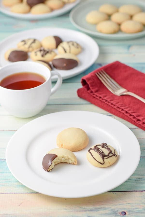 delicious butter shortbread cookies with a bite taken out of it