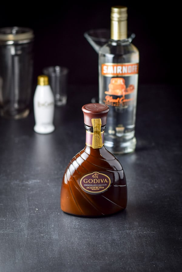Godiva chocolate liqueur, Rum Chata and caramel vodka for the chocolate martini