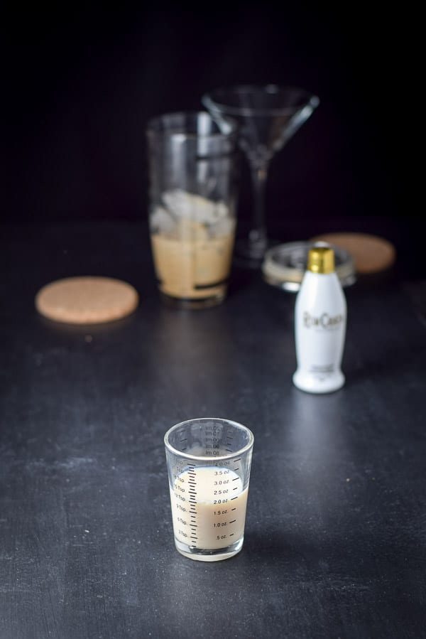 RumChata measured out for the chocolate martini