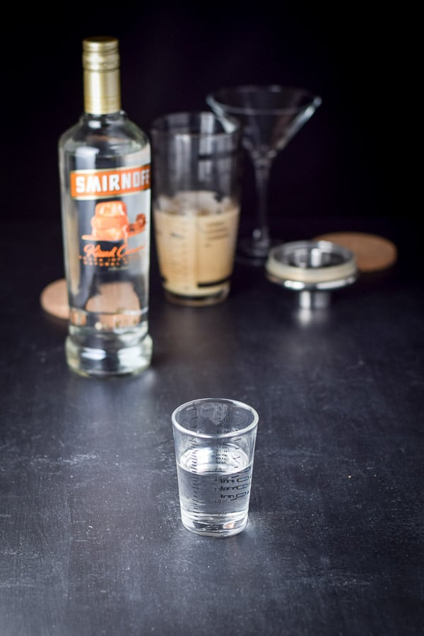 Measure out 2 ounces caramel vodka for the chocolate martini