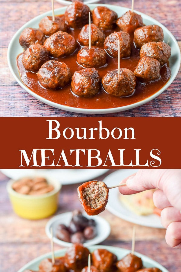 These bourbon meatballs are so delicious!  You can either have them as an appetizer or your main meal.  The delicious boozy taste compliments the meatballs! #meatballs #bourbon #appetizer #dishesdelish
