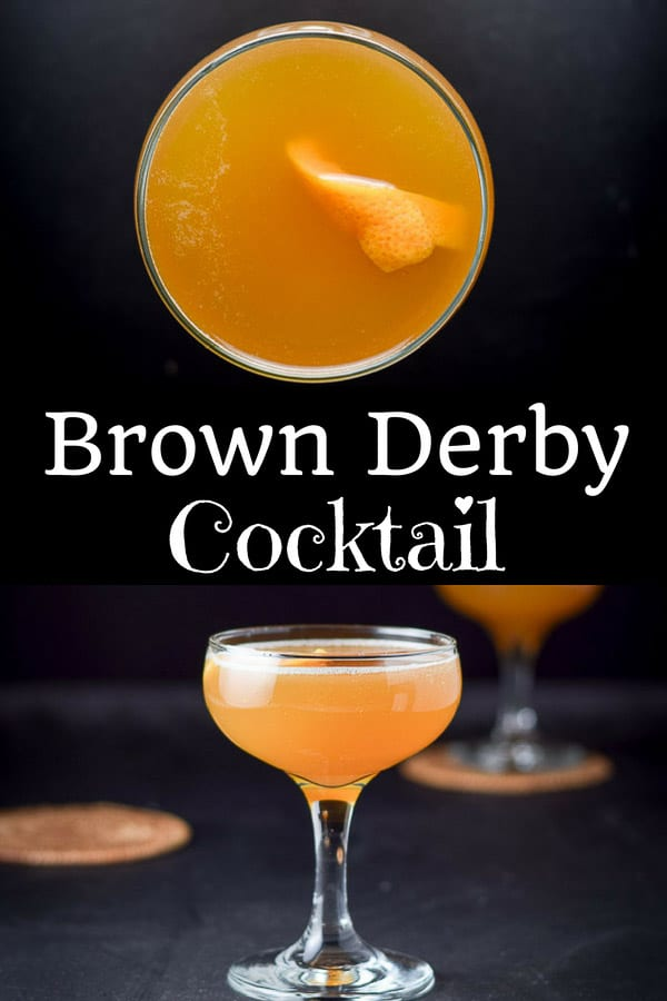 This brown derby cocktail is a fun drink!  It has three ingredients, bourbon, grapefruit juice and honey syrup!  Totally delicious! #drink #cocktail #brownderby #dishesdelish