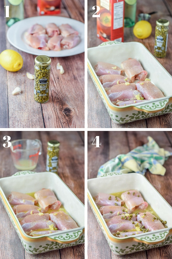 Collage of the step by step photos of the Easy Chicken Piccata