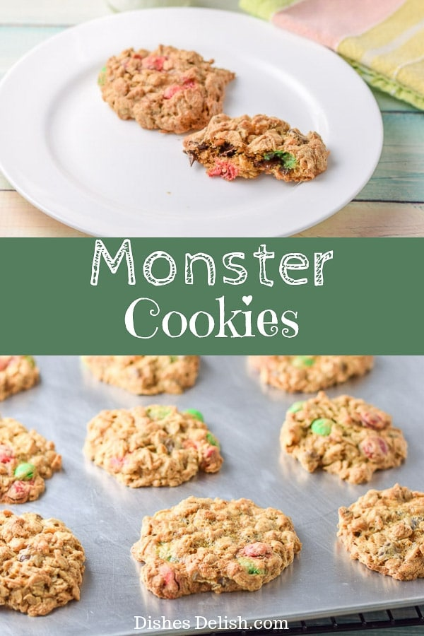 These monster cookies are so delicious.  They are peanut buttery and filled with luscious M & M's!!  #cookies #dessert #dishesdelish