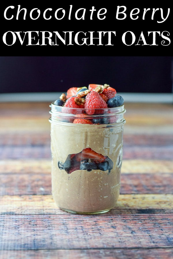 This chocolate berry overnight oats recipe is super delicious.  Could it be the chocolate or is it the abundance of berries?  You try it and see! #overnightoats #oats #chocolateoats #dishesdelishrecipes http://ddel.co/bryonoats