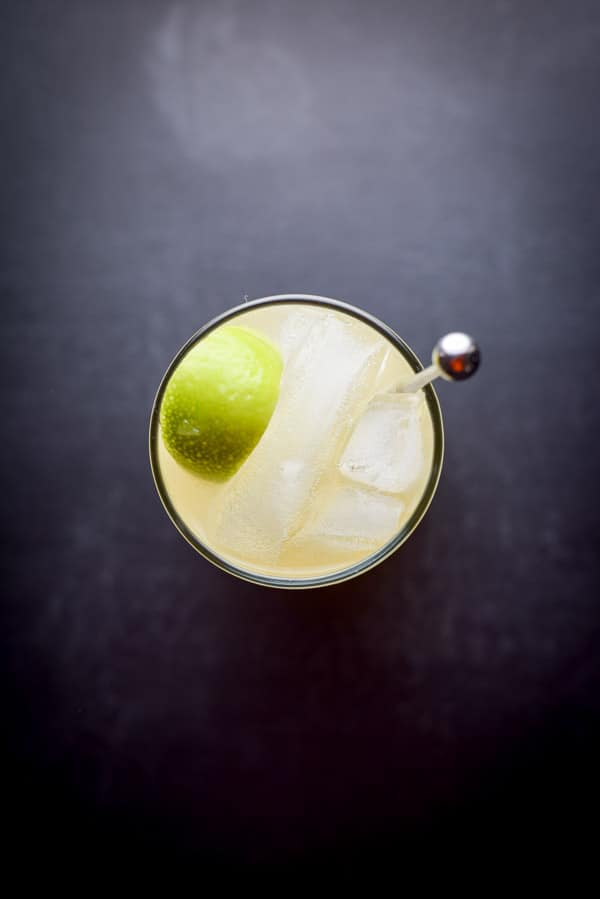 Aerial view of the classic Mamie Taylor cocktail
