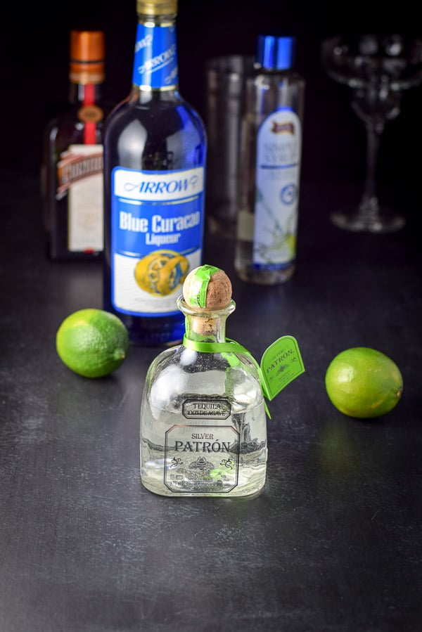 Ingredients for the electric blue margarita cocktail