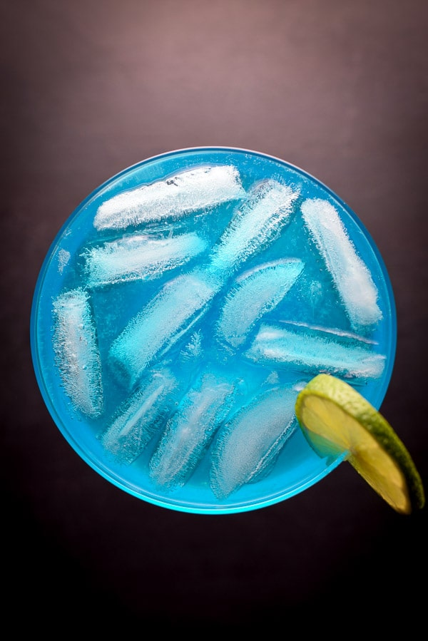 Aerial view of the electric blue margarita cocktail