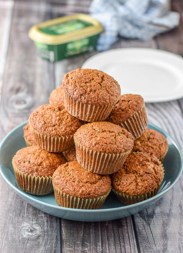 Pile of rousing raisin oat bran muffins