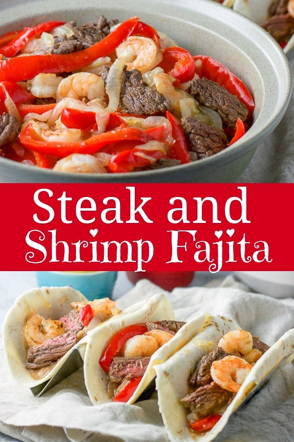 This steak and shrimp fajita recipe is so delicious your guests will be clamoring for the tortillas.  Perfectly seasoned and superbly cooked, it will be your new favorite Mexican dish! #mexican #shrimp #steak #fajita #dishesdelish http://ddel.co/stkshmpfaj