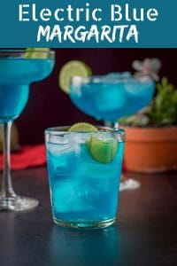 This electric blue margarita is so delicious! Perfect any time of the year, but extra perfect and festive on Cinco de Mayo!
