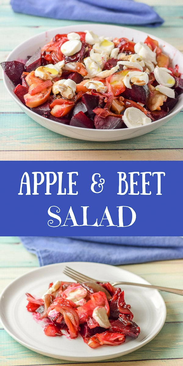 This apple and beet salad is such a refreshing salad!  It's different and pretty and perfect to serve at your next BBQ  #apple #beets #salad #dishesdelish #dishesdelishrecipes