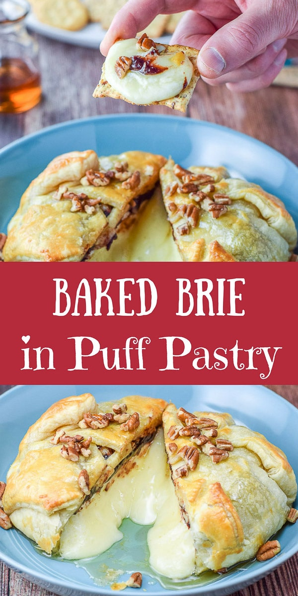 This baked brie in puff pastry recipe is so good that when you serve it to your guests, they will all fall silent as they eat it.  Which sometimes is a good thing.  ;) #bakedbrie #brie #puffpastry #dishesdelish #appetizer #cheese #dishesdelishrecipes http://ddel.co/bkdbrie
