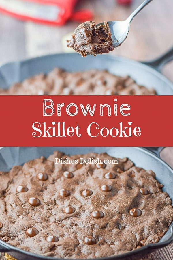 This brownie skillet cookie is so delicious that you will want to make this all the time!  Everyone loves it.  Plop a scoop of ice cream on it and it's a party! #brownie #skillet #cookie #dishesdelish
