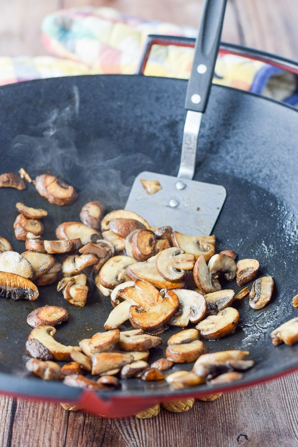 Mushrooms sautéd for the chicken in creamy mushroom sauce