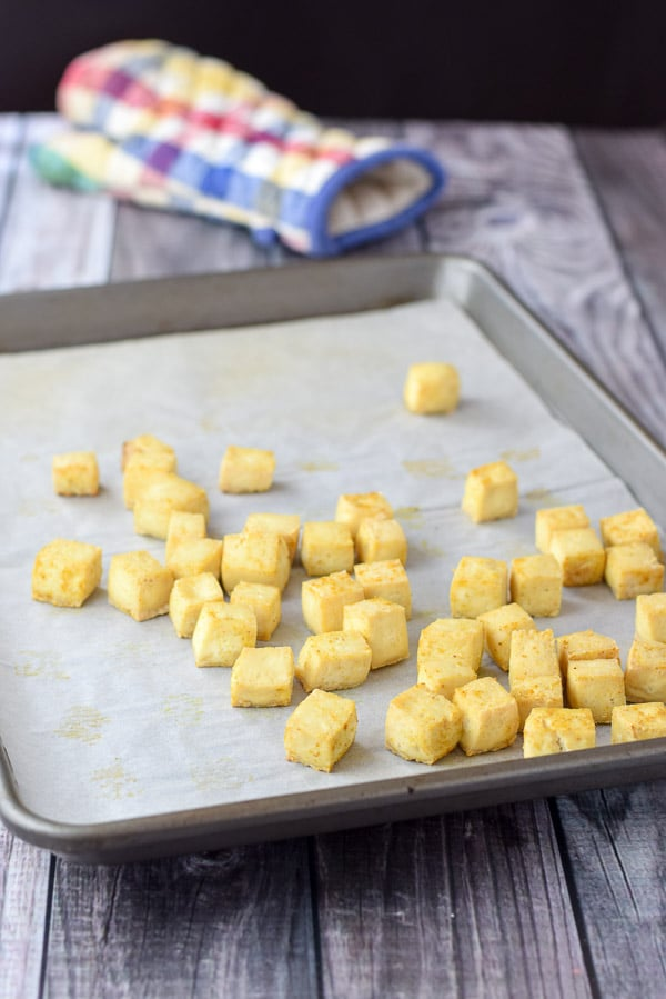 Tofu cubes all baked and ready for the crispy tofu curry noodle