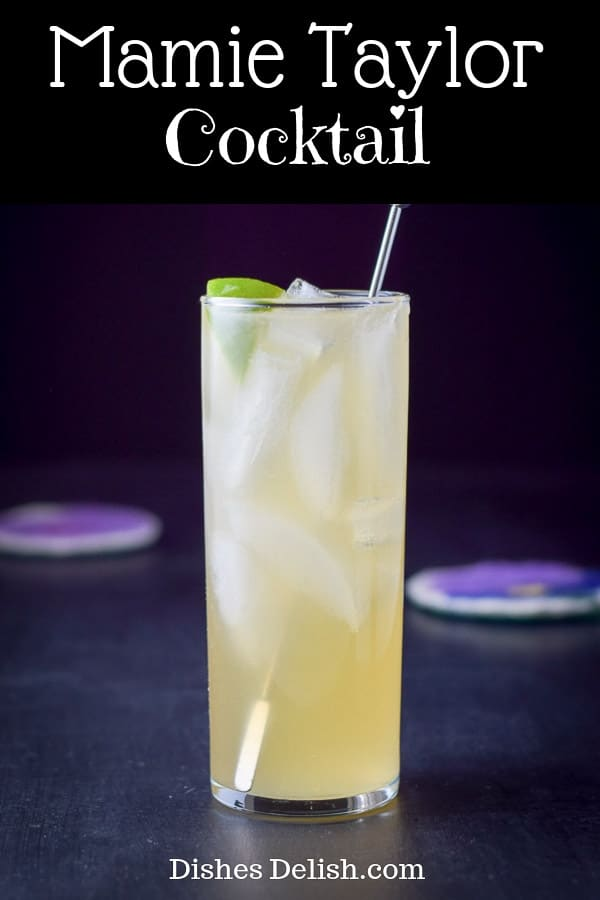 This Mamie Taylor cocktail is named after the opera singer, but it's so delicious that you'll forget that after your first sip!  Mamie who?  #cocktail #mamietaylor #dishesdelish