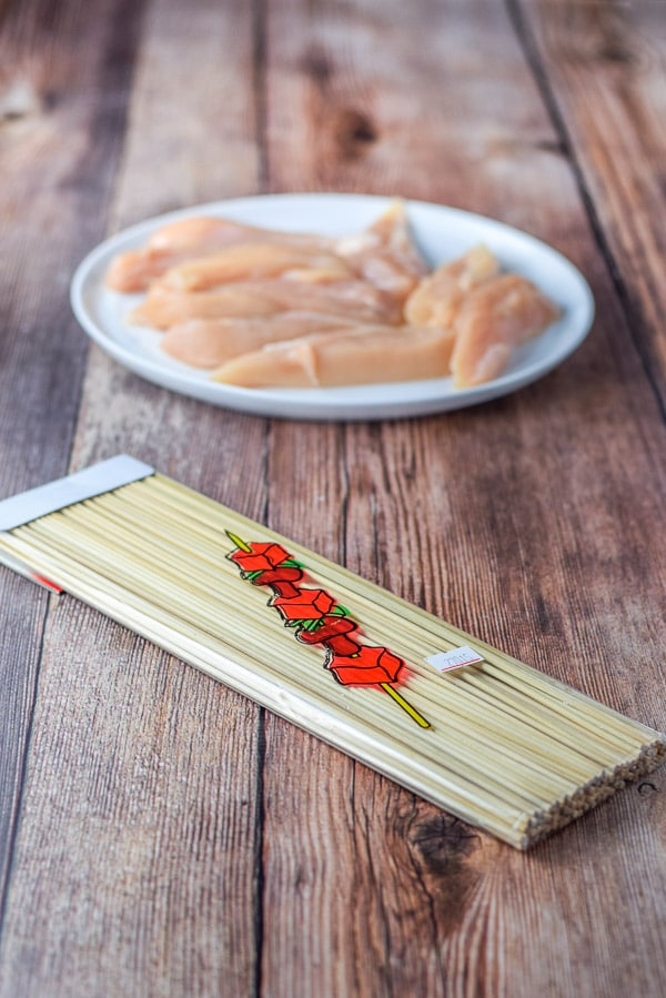Chicken tenders and skewers for the simple Thai chicken satay