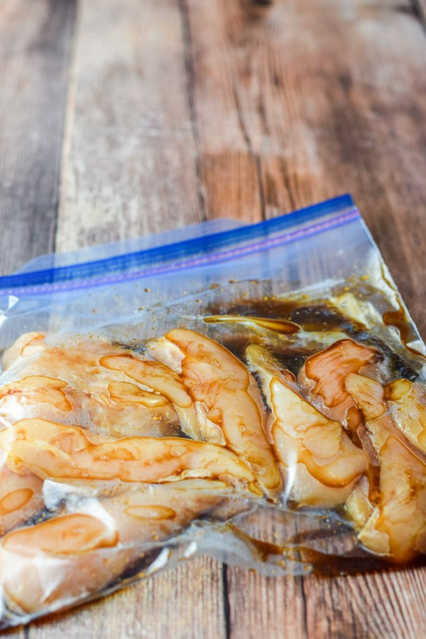 Chicken in a bag marinating for the simple Thai chicken satay