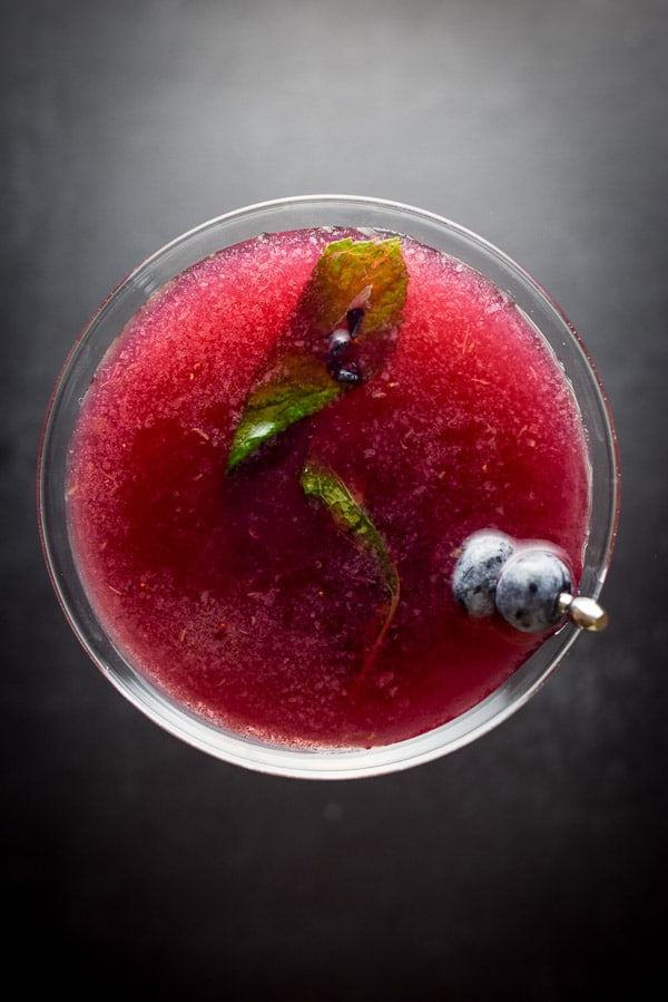 Aerial view of the blueberry mint cosmo cocktail