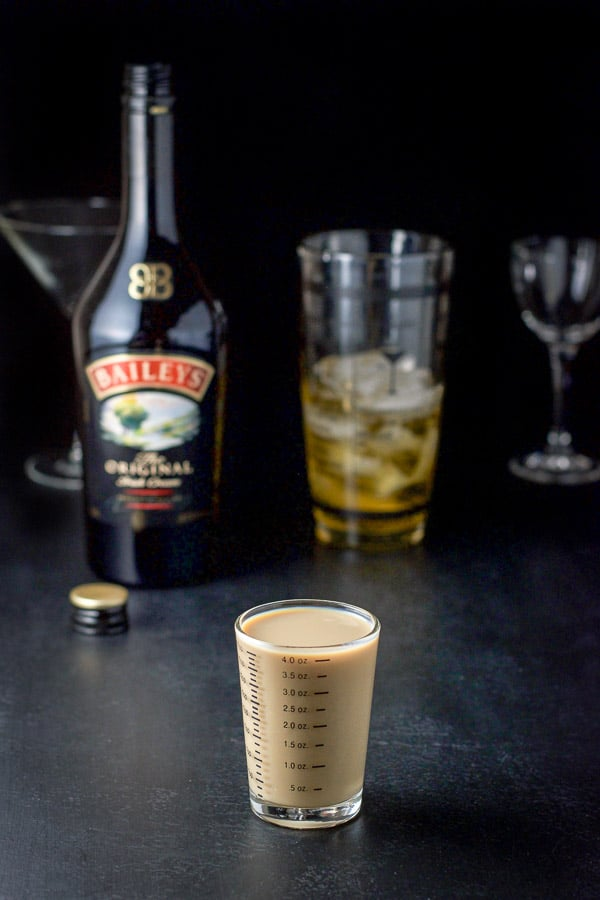 Baileys Irish cream measured for the butterball cocktail