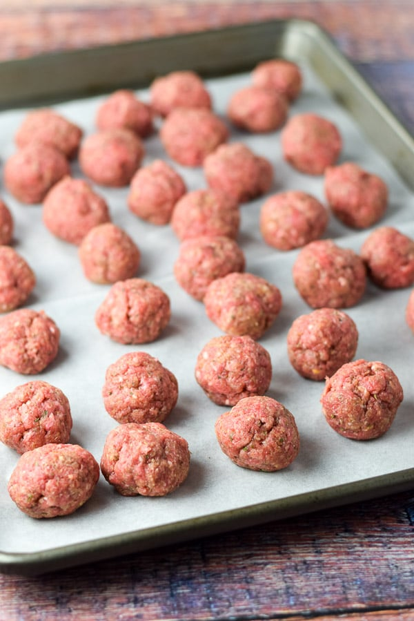 Meatballs formed for the open face meatball sub