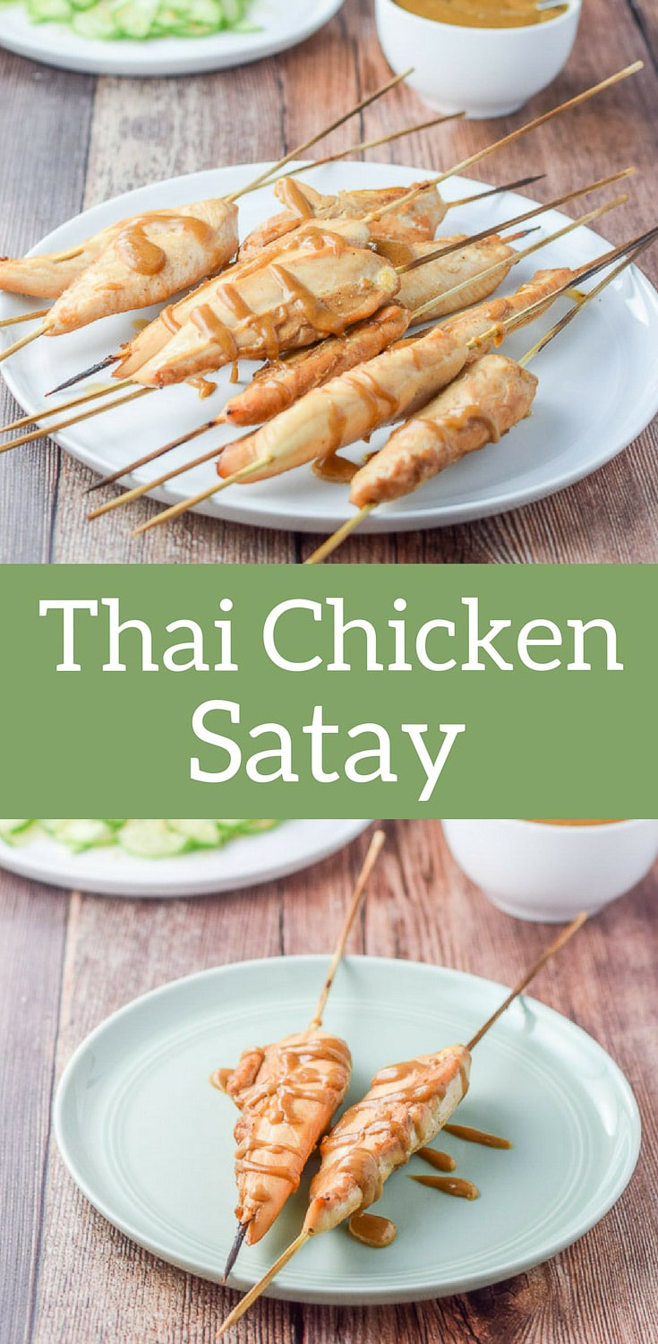 Thai chicken satay is so incredibly easy and so delicious!  It's baked, so if you don't have a grill like me, you can still have a yummy meal! #chickensatay #Thaifood #chicken #dishesdelishrecipes http://ddel.co/chisatey