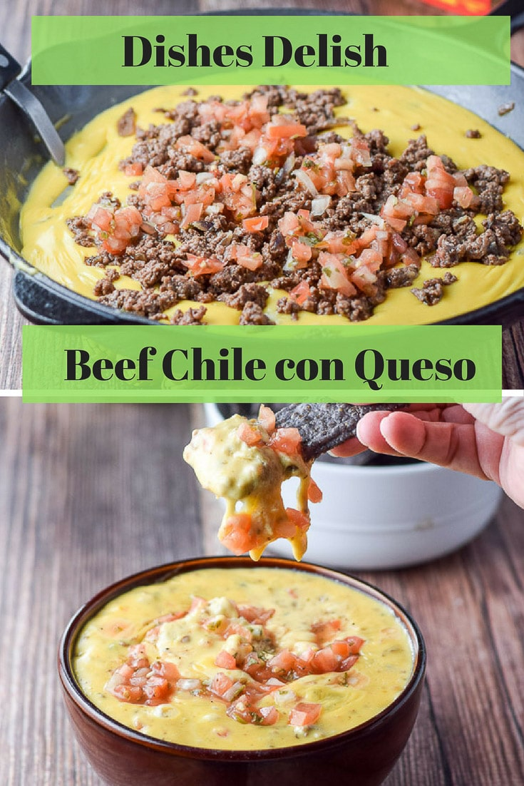 This Beef chile con queso is jam packed with flavor.  It is the perfect dip for your next party!  Perfect for football game watching. #beef #chileconqueso #queso #mexican #dishesdelish #dishesdelishrecipes http://ddel.co/bccques