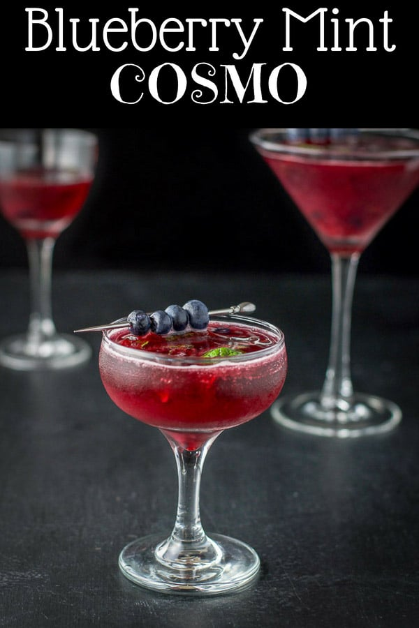 Blueberry mint cosmo cocktail is vibrant, robust, delicious and pretty and perfect to serve your guests! #blueberry #mint #cosmo #dishesdelish http://ddel.co/blmtcsmo