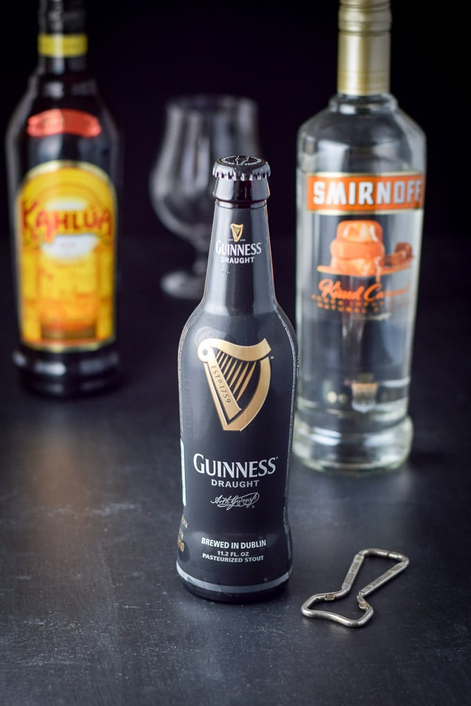 Guinness, caramel vodka and kahlua for the caramel macchiato stout cocktail