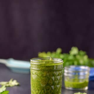 Vertical view of the cheer for chimichurri sauce