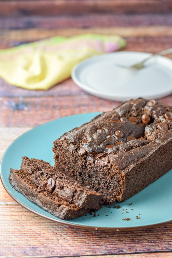 chocolate chocolate chip bread sliced and ready to eat