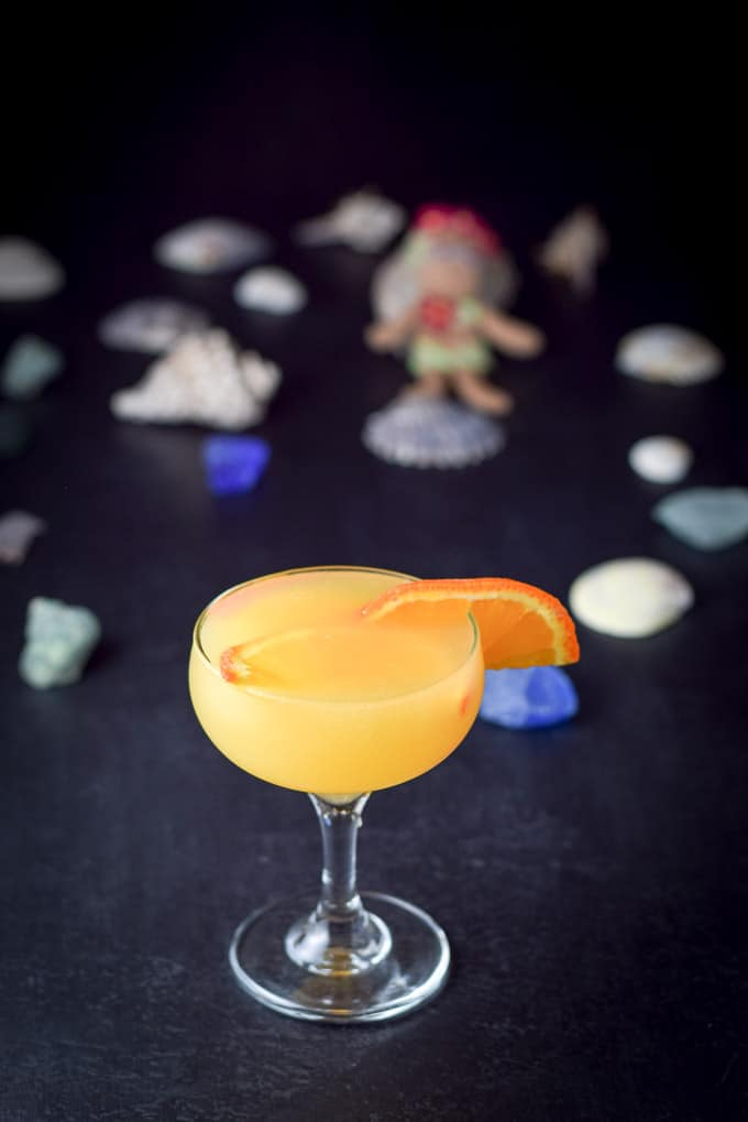 destination paradise cocktail poured out and ready to drink