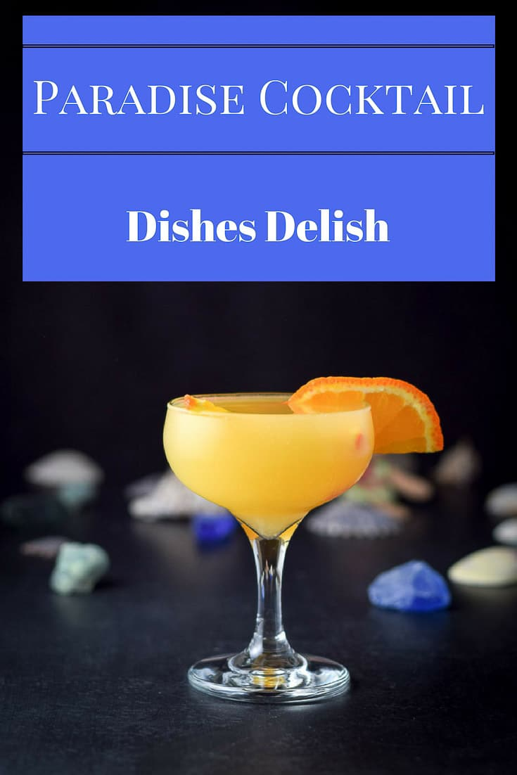 This Destination Paradise Cocktail recipe is delightful.  You will feel like you are on a tropical island as you sip this tasty cocktail! #paradisecocktail #cocktail #drink #dishesdelish #dishesdelishrecipes http://ddel.co/paradisecktl