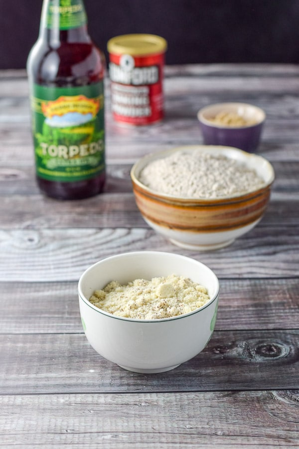 Almond flour, spelt flour, sugar and beer for the incredibly easy beer bread