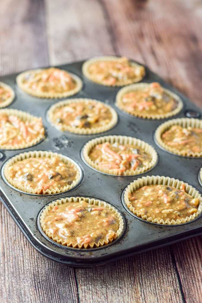 Batter in the muffin tins for the Lainey's morning glory muffins