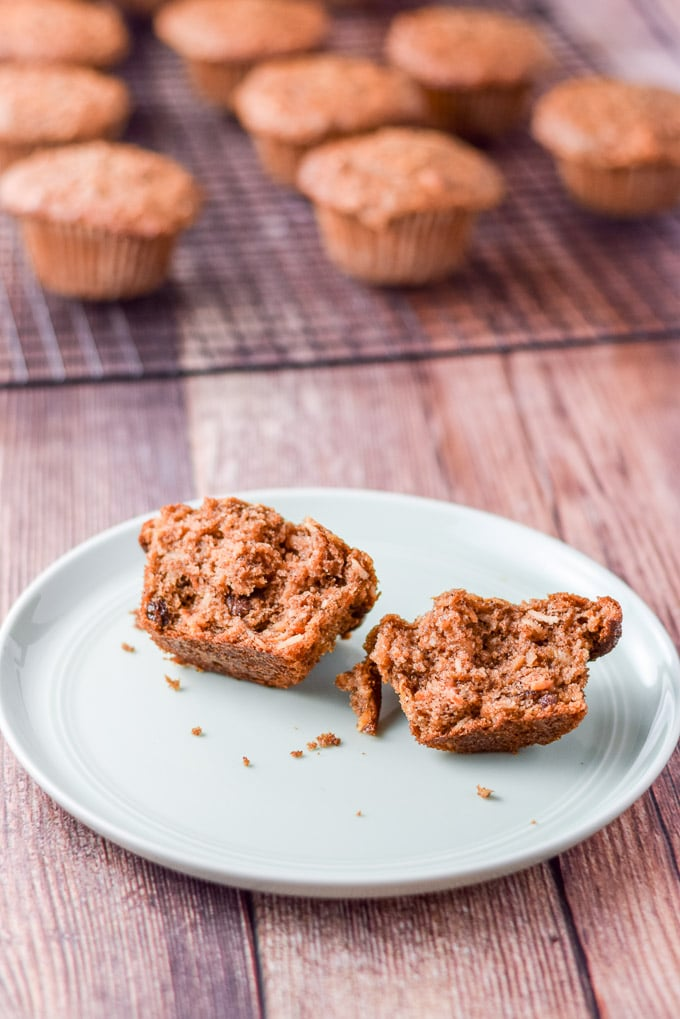 Lainey's morning glory muffins broken open on a plate
