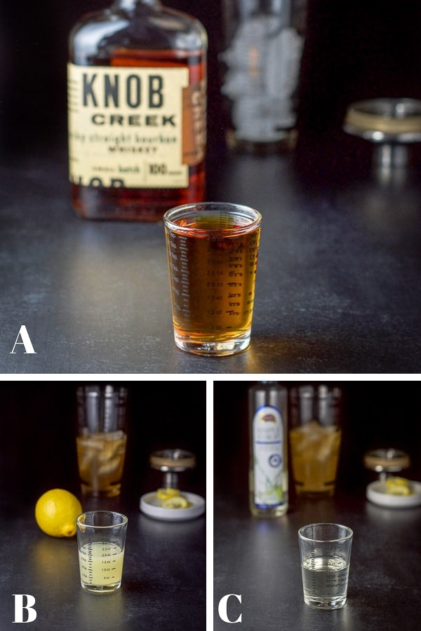 Process shots for the New York sour cocktail - bourbon, lemon and simple syrup poured