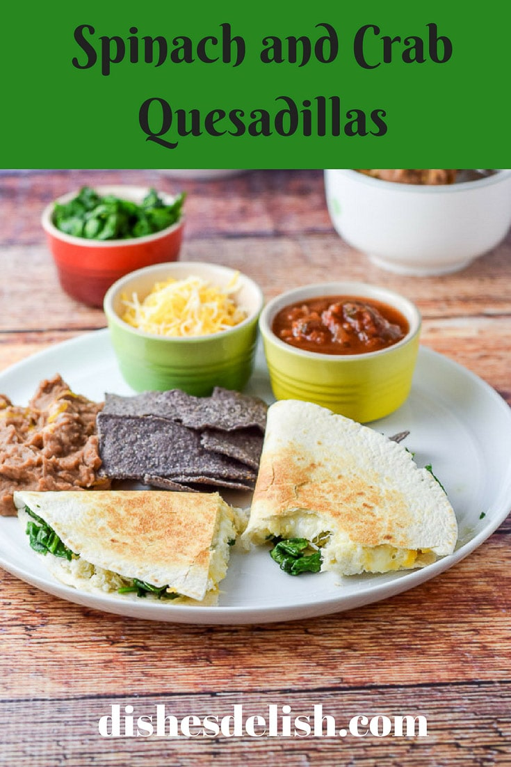 These Spinach and Crab Quesadillas are so good.  They are so satisfying with the mixture of spinach with the crab.  Yum. #crab #spinach #quesadillas #dishesdelish #dishesdelishrecipes http://ddel.co/crbques