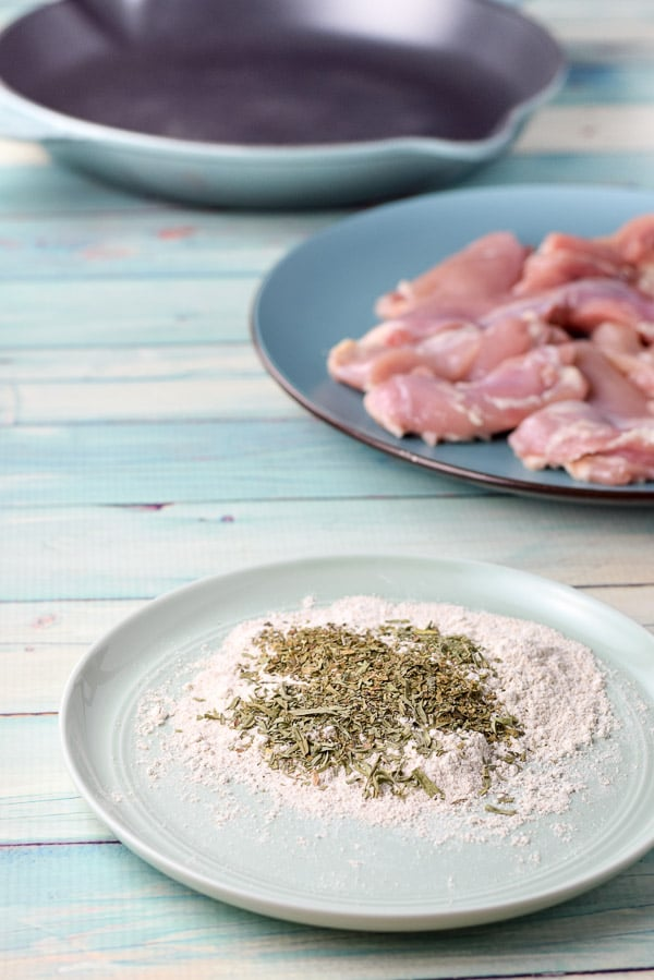 Flour, tarragon and basil with chicken for the super easy chicken marsala