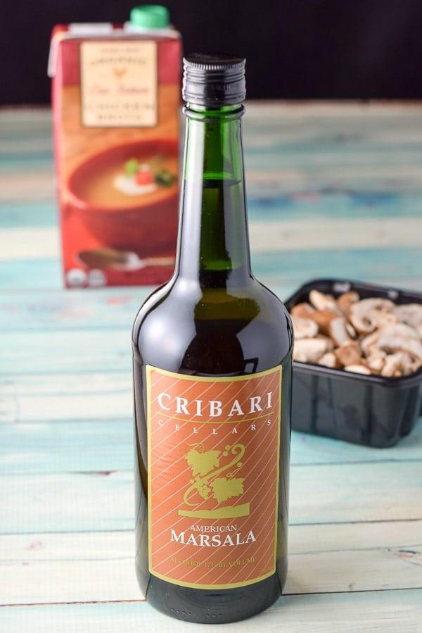 Marsala wine, mushrooms and broth for the super easy chicken marsala