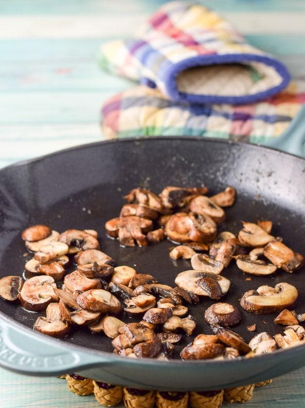 Mushrooms sautéd for the super easy chicken marsala