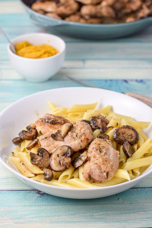 super easy chicken marsala on some pasta