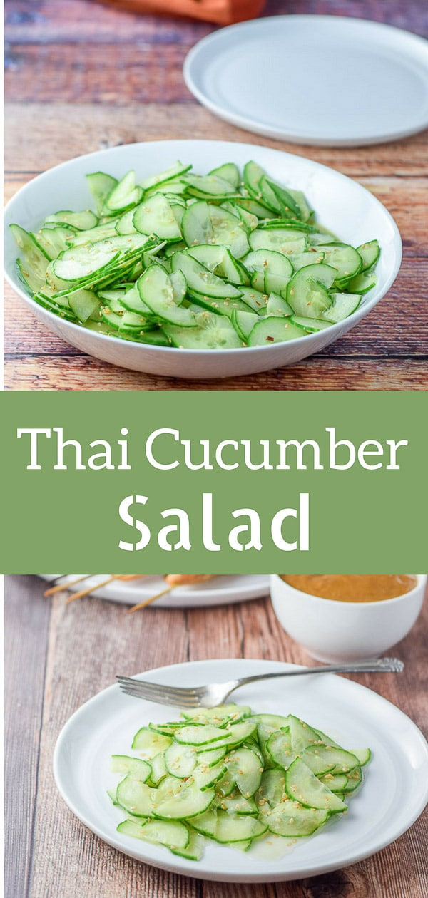This Thai cucumber salad is extra yummy with a perfectly balanced dressing! It's low-cal and super delicious! #Thaisalad #cucumbersalad #salad #cucumber #dishesdelishrecipes http://ddel.co/cukesal